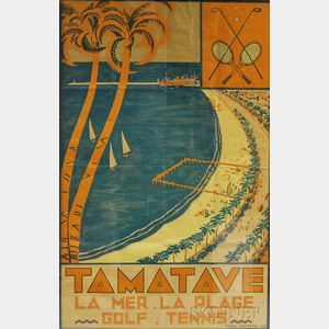 Pierre Fonterme (Continental, 20th Century)      Tamatave - La Mer. La Plage. Golf. Tennis