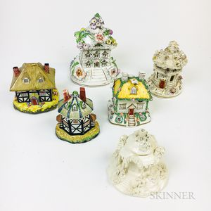 Six Staffordshire Cottage Pastille Burners