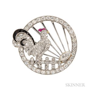Art Deco Platinum and Diamond Rooster Brooch