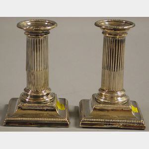Pair of Weighted English Silver Columnar Candlesticks