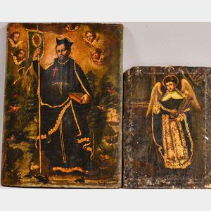 Spanish Colonial School, 18th/19th Century      Two Works Depicting Male Saints, a Monk and Possibly a Bishop.