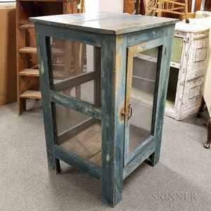Country Blue-painted Pine Pie Safe