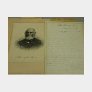 1869 Autograph Letter by William Cullen Bryant