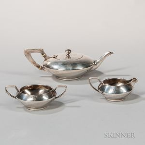 Three-piece Clemens Friedell Sterling Silver Tea Service