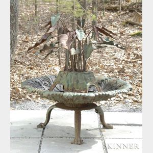 Green-painted Calla Lily Cast Iron Fountain and Basin