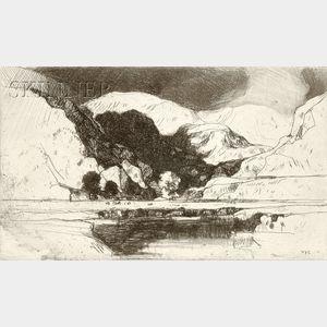 David Young Cameron (Scottish, 1865-1945)      Lot of Six Landscape Views.