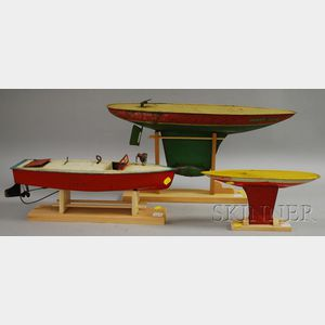 Three Lithographed Tin Toy Boats