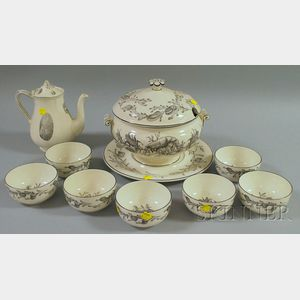 Wedgwood Queen's Ware Covered Chowder Tureen and Undertray with Seven   Bowls and a Coffeepot
