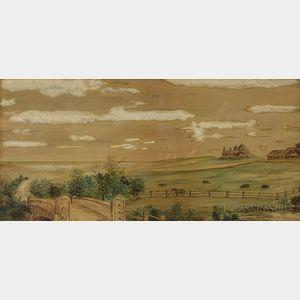 Small Framed Russian Watercolor Landscape