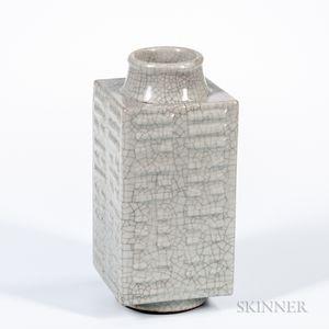 """Crackle-glazed Celadon """"Cong"""" Vase"""