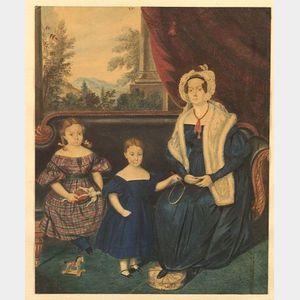 American School, 19th Century  Family Portrait.