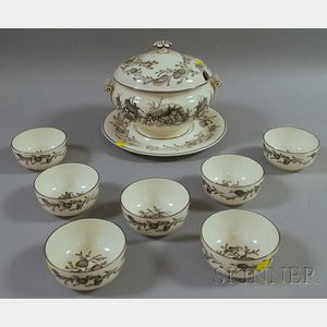Wedgwood Queen's Ware Covered Chowder Tureen and Undertray with Seven Bowls
