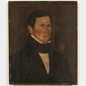 American School, Mid-19th Century      Portrait of a Man in a Black Jacket