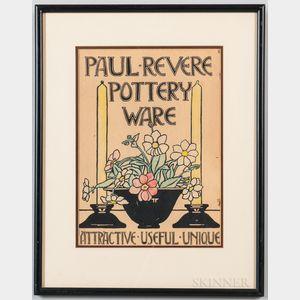 Framed Paul Revere Pottery Advertisement