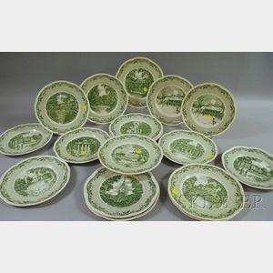 Set of Eighteen Royal Cauldon Dartmouth College Ceramic Dinner Plates.