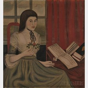 Sold for: $1,271,000 - American School, 18th Century      Portrait of Abigail Rose, North Branford, Connecticut, 1786, at the Age of Fourteen.