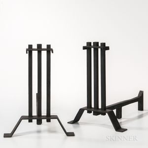Pair of Arts and Crafts Prairie-style Andirons