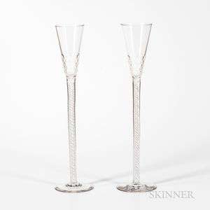 Pair of Tall Blown and Faceted Twist-stem Wedding Glasses