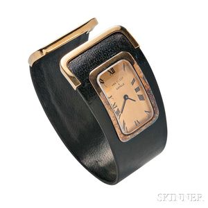 Lady's 18kt Gold and Leather Wristwatch, Van Cleef & Arpels