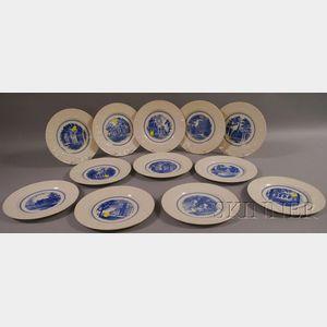 Set of Twelve Wedgwood Blue and White Amherst College Ceramic Dinner Plates.