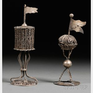 Two Continental Filigree Metal Besamim Box Spice Containers