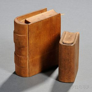 Book Safes, Two Carved Wooden False Books.