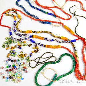 Six Strands of African Glass Trade Beads