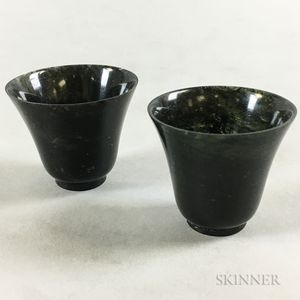 Pair of Small Hardstone Wine Cups