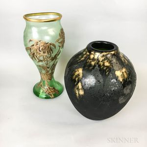 Legras and Mount Joy Gilt Cameo Glass Vases