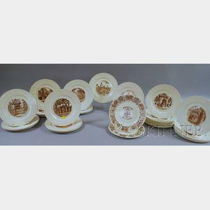 Thirty-two Wedgwood Brown University Ceramic Plates.
