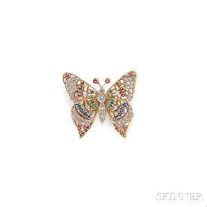 18kt Gold and Platinum Gem-set Butterfly  Brooch