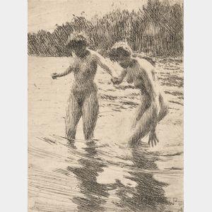 Anders Zorn (Swedish, 1860-1920)      Two Bathers