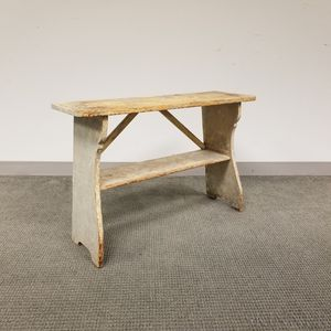 Gray-painted Pine Bench