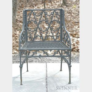 Green Painted Gothic Revival Cast Iron Armchair