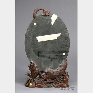 Black Forest Carved Walnut Dressing Table Mirror