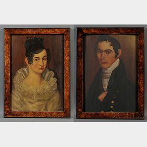 Thomas Ware (American, 1803-1836)      Pair of Portraits of Mr. and Mrs. Kimball Dustin