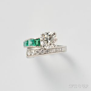 Platinum, Emerald, and Diamond Ring, Trabert & Hoeffer-Mauboussin