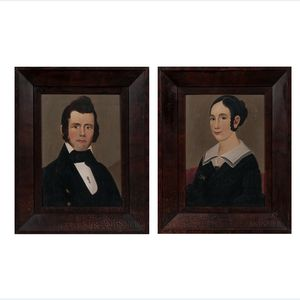 William Matthew Prior (Massachusetts/Maine, 1806-1873)      Pair of Portraits of a Man and Woman