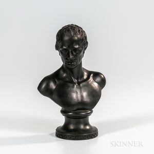 Wedgwood & Bentley Black Basalt Bust of Lawrence Sterne