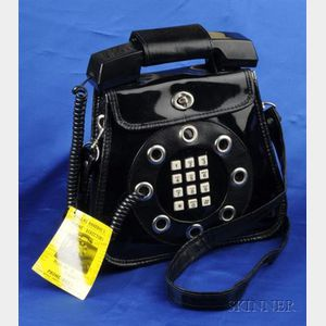 Black Patent Leather Telephone Handbag, Dallas Handbags, c. 1970s