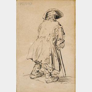 After Jacques Callot (French, 1592-1635)      Le vieux mendiant a une seule bequille