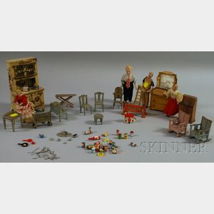 Four Bisque Dollhouse Dolls and Kilgore Doll Furniture and Related Material
