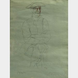 Rico Lebrun (American, 1900-1964)      Preliminary Drawing for Pale Clown