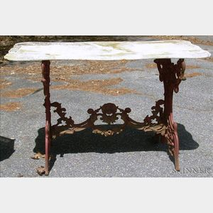 Red Painted Cast Iron Trestle Table