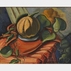 Priscilla Longshore Garrett (American, 1907-1992)      Still Life with Casaba Melon