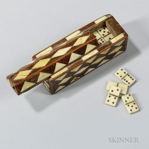 Bone-inlaid Miniature Dominoes Box