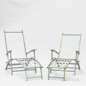 Two Country Blue-painted Pine Deck Chairs.
