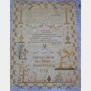 "Needlework Sampler ""Dorcas Colcott Her Work/Ramsey/Feb'y 22 1796,"""