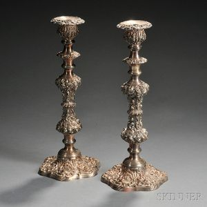 Pair of Large Silver-plated Candlesticks