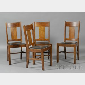 Set of Four Michigan Chair Co. Arts & Crafts Oak Dining Chairs